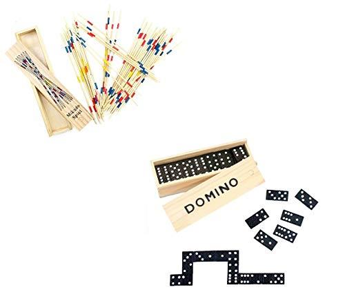 wuselwelt Spieleset Holz Mikado Spiel und Dominospiel im Sparset, in Holzbox, Holzschachtel, Spielset, Gesellschaftsspiel, Familienspiel, Reisespiel, Spielesammlung