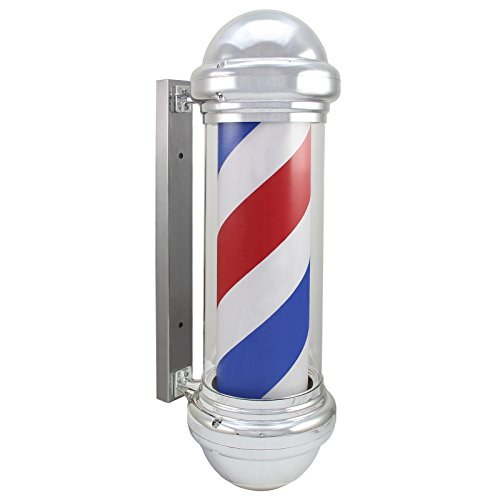 Enseigne de Barbier Poteau Traditionnel Bleu Blanc Rouge LED Rotatif Salon de coiffure Barbier Enseigne Extérieur Classic Illuminé
