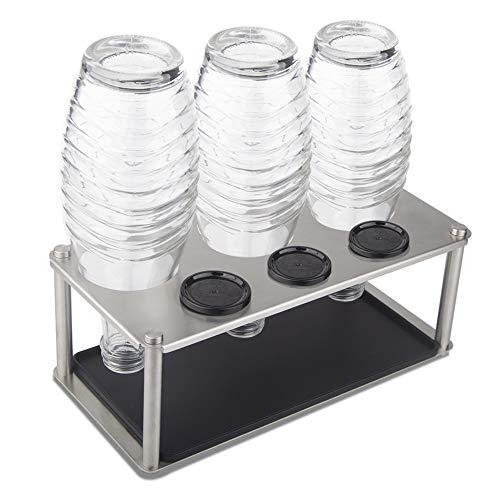 HunDun Premium SodaStream Flaschenhalter aus Edelstahl, Abtropfhalter Inkl. Abtropfmatte für z.B Soda Stream Crystal, Easy, Fuse, Emil UVM.