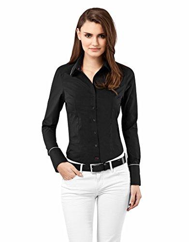 Vincenzo Boretti Damen Bluse tailliert 100% Baumwolle bügelfrei Langarm Hemdbluse elegant festlich Kent-Kragen auch für Business und unter Pullover schwarz 34