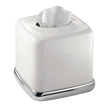 mDesign Square Facial Tissue Box Cover Holder for Bathroom Vanity Counter Tops, Bedroom Dressers, Night Stands, Desks and Tables - Solid Steel Construction, Glossy White with a Polished Chrome Base