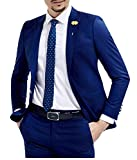 Botong Slim Fit Royal Blue Wedding Suits 2 Pieces Men Suits Groom Tuxedos Royal Blue 42 chest / 36 waist