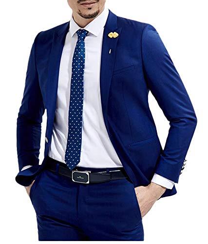 Botong Slim Fit Royal Blue Wedding Suits 2 Pieces Men Suits Groom Tuxedos Royal Blue 40 chest / 34 waist