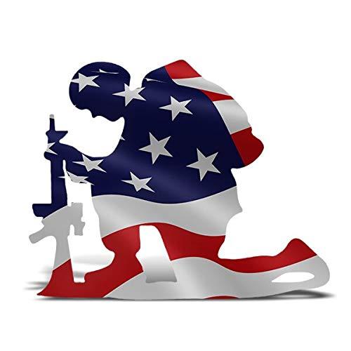 Kakeii American Flag Kneeling Soldier Weathered Flag Metal Art Decor, US Military Kneeling Soldier Garden Flag Vertical Yard Outdoor Decoration