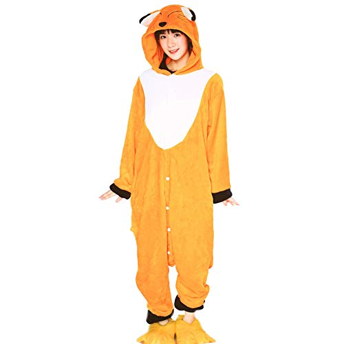 GXFXLP Adulto Animal Bodies Pijama de Franela Calentar Cosplay Traje Pijama Fox Fox Kigurumi Capucha Bodies Fiesta de Navidad Halloween de Manga Larga Vestido de Lujo para la Mujer Hombre,Amarillo,XL