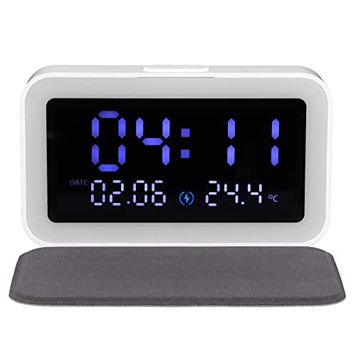 Luz de Noche - Reloj Despertador con lámpara de Noche LED con termómetro de Cargador inalámbrico de 15 W para Dormitorio en casa