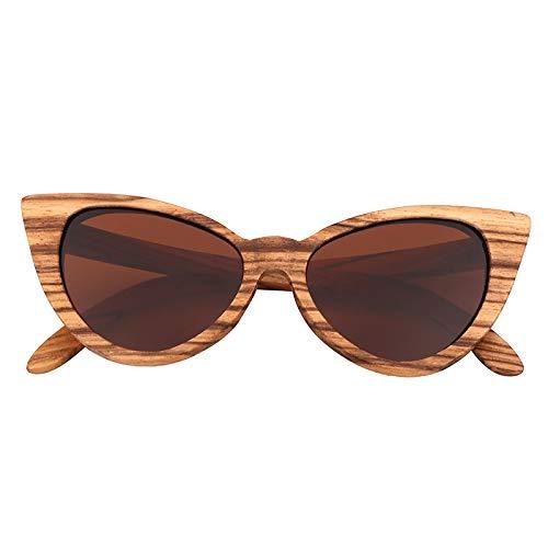 Gafas De Sol De Madera Retro del Ojo De Gato para Mujeres Y Hombres 100% UVA/UVB Vintage Polarized Wayfarer Style