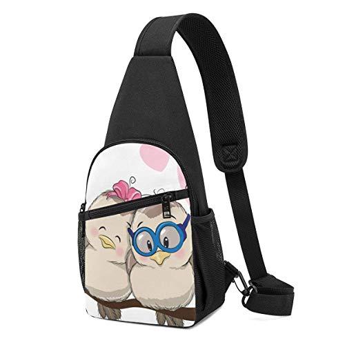 XCNGG Mochila de Senderismo Bolsa de Pecho Love Birds Printed Sling Backpack,Lightweight Shoulder Chest Backpack Travel Hiking Bag Crossbody Shoulder Bag
