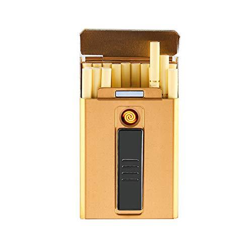 Pitillera YKBBA Caja De Caja De Cigarrillos De Metal con Encendedor Eléctrico USB para Delgado Cigar20pcs Capacidad para Los Hombres 90 * 55 * 19mm Oro