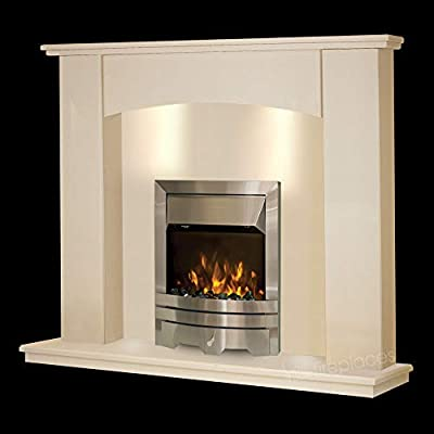 Cream Stone Marble Curved Modern Surround Electric Wall LED Fireplace Suite Silver Electric Fire Moving Flame Effect & Spotlights