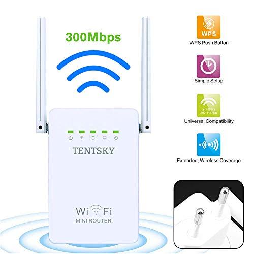 Schimers WiFi-repeater, WiFi-versterker, WPS, Duitse firmware, 2 poorten, signaalsterkte WiFi-router, AP-modus, compatibel met alle gangbare WiFi-routers, WiFi-versterker
