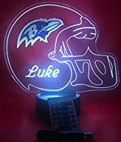 Baltimore Ravens NFL Light Up Lamp LED Personalized Free Football Light Up Light Lamp LED Table Lamp, Our Newest Feature - It's Wow, with Remote, 16 Color Options, Dimmer, Free Engraved, Great Gift