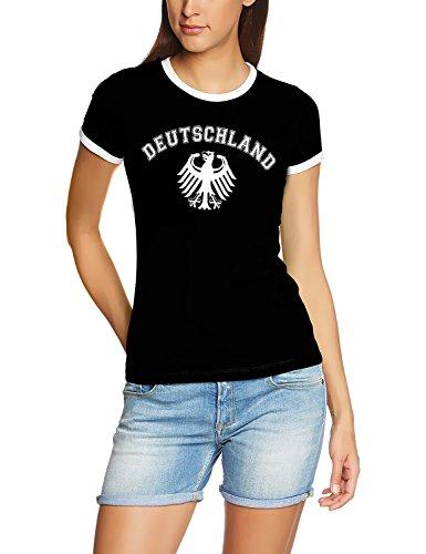 Coole-Fun-T-Shirts Deutschland Adler T-Shirt WM 2018 T-Shirt schwarz_RIGI DAMEN RINGER Gr.XL