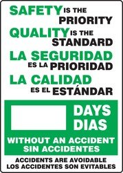 Accuform SBMSR249PL Plastic Spanish Bilingual Write-A-Day Safety Scoreboard, Legend 'SAFETY IS THE PRIORITY QUALITY IS THE STANDARD - #### DAYS WITHOUT AN ACCIDENT - ACCIDENTS ARE AVOIDABLE', 28' Length x 20' Width x 0.125' Thickness, Green/Black on White