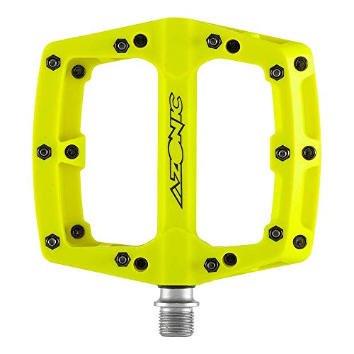 MTB AZONIC Blaze Pedali | Pedali per biciclette estremamente resistenti in nylon rinforzato con fibre | Pedale piatto con perni in acciaio intercambiabili | Adatto per mountain bike, e-bike, BMX..