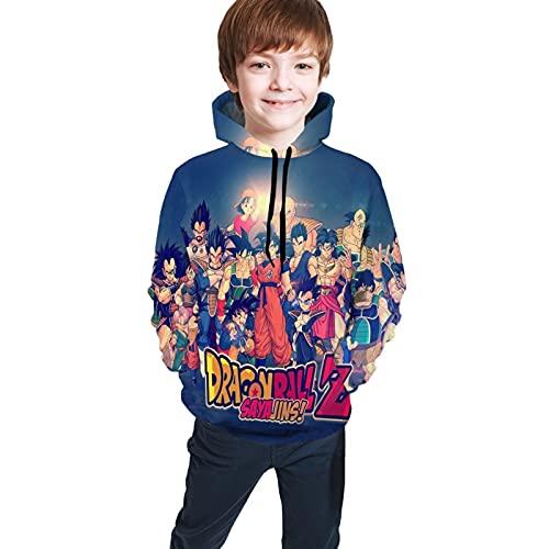 Sudaderas con capucha para niños y niñas, 3D Anime Dragon_Ball_Z Cool Funny Pullover Sudadera de manga larga con capucha, Negro 6, S