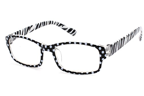 4sold (TM Slim Lesebrillen Retro Black, Brown dunkelbraun +1.5 or +2.00 or +2.5 or +3.0 or +3.5 or +4.00 (Zebra White Black, 1.50)