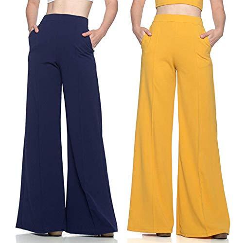 Pantalones Acampanados Tallas Grandes,Pantalones de Pierna Ancha para Mujer,Pantalones calzas Yoga