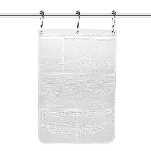 STARUBY 7 Taschen Aufbewahrungsbeutel Mesh Shower Caddy Badezimmer Hanging Mesh Bath Organizer Duschvorhänge Rod Hanging Caddies mit 3 Hanging Rings & 3 Haken zur Auswahl,42X65 cm, Weiß