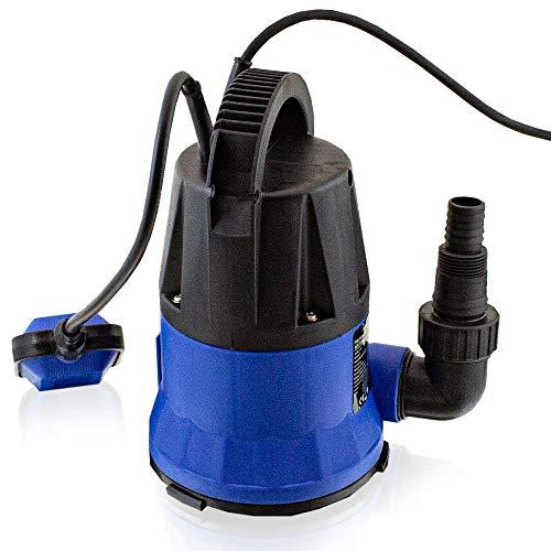 BITUXX® Flachsaugende 400W Schmutzwasser Tauchpumpe für Brunnen Zisterne Bewässern Garten Regentonne Bis 5000 Liter/h 1,0-1,5 Zoll Förderhöhe 7 Meter