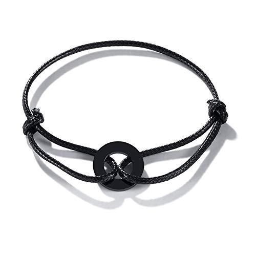 Sencillo y Elegante Toque de la Cuerda de círculo Moderno Tobillera Pulsera Negra cordón Negro aro Urbano tobillón para Regalo de joyería de Mujer (Metal Color : Style4)