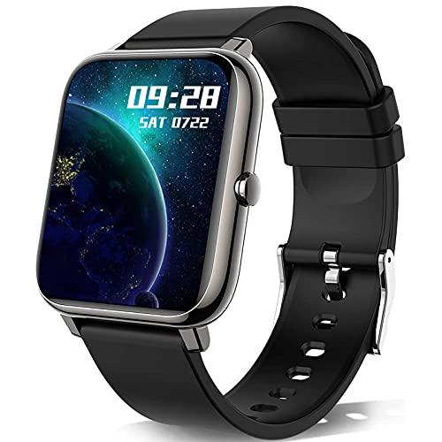 Popglory Smartwatch con misurazione della pressione sanguigna, fitness tracker, con cardiofrequenzimetro, monitoraggio del sonno, orologio sportivo IP67, pedometro, smartwatch per uomo e donna