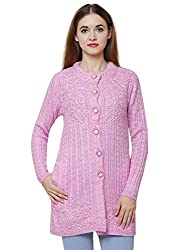 Matelco Black Embroidered Woollen Cardigans with Pockets for Women