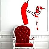 Zaosan Sticker Mural Vinyle Autocollant Fille Sports Athlète Féminine Boxe Gym Ameublement Décoration Amovible Art Mural Design Rouge 114X144CM