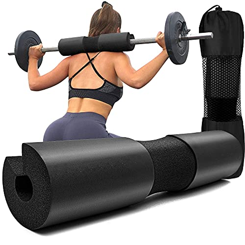 LAVVON Squat Pad - Foam Barbell Pad for Squats Cushion, Lunges & Bar Padding for Hip Thrusts - Standard Olympic Weight Bar Pad - Provides Cushion to Neck and Shoulders While Training, Black