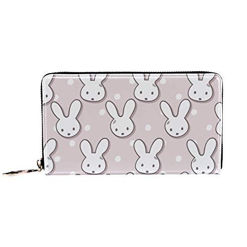 Damen-Geldbörse mit Reißverschluss und Handy-Clutch, süßer Kaninchen-Maulkorb und Punktemuster, Reise-Geldbörse aus Leder