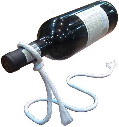 Riveryy Creativo Botellero Vino Estante del Vino Estante de Vino de Cuerda de Nailon con Núcleo de Hierro con Suspensión Blanca Personalizada Adecuado para Sala de Estar Comedor Bar Decoración