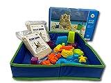 JAR MELO Arena mágica moldeable para niños. Natural y creativo. Kit de Arena cinética 2kg, moldes y bandeja. No tóxico, no mancha y no se pega