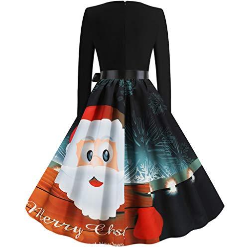 Weihnachtskleid Damen, ZHANSANFM Frauen Sexy Langarm Cocktailkleid Weihnachtsmann Elch Schlitten Druck Party Swing Bowknot Festlich Kleid A-Linie Abendkleid Karneval Kostüme (XL, Schwarz)