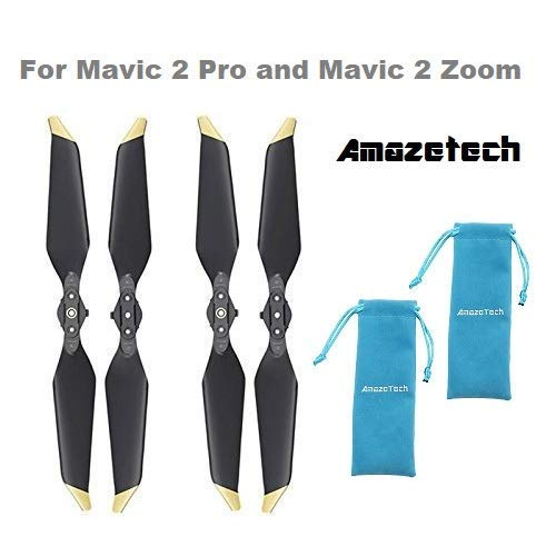 Amazetech 8743F - DJI Mavic 2 Pro Low Noise Propeller 2 Paar Golden Tip mit Propeller Tasche, Kompatibel mit Mavic 2 Pro und Mavic Zoom