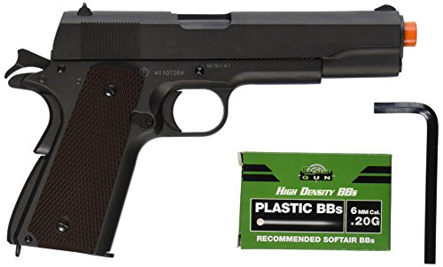 Colt 100th Anniversary 1911 CO2 Full Metal Airsoft Pistol with Adjustable Hop-Up and Blowback, 340-360 FPS, Black, 6mm (18512)