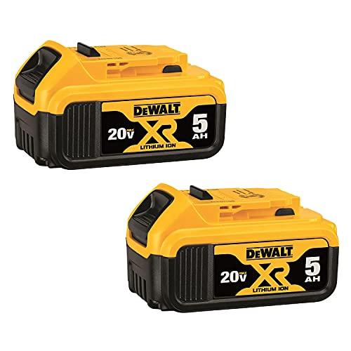 DewaIt 20V MAX XR 5.0Ah Lithium Ion Battery, 2-Pack