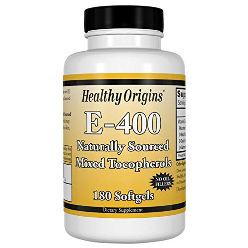 Healthy Origins Natural Vitamin E 400iu 180 Softgels | E-400 iu as d-alpha Tocopherol plus Mixed Tocopherols | Maintenance of the Immune System, Normal Vision and Skin | Protects Cells from Oxidative Stress