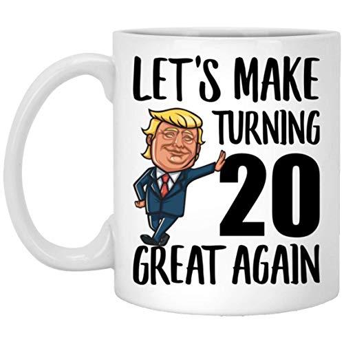 Feliz cumpleaños número 20 para niños, niñas que cumplen 20 años, nacido en 1999, taza de café blanca divertida de 11 oz