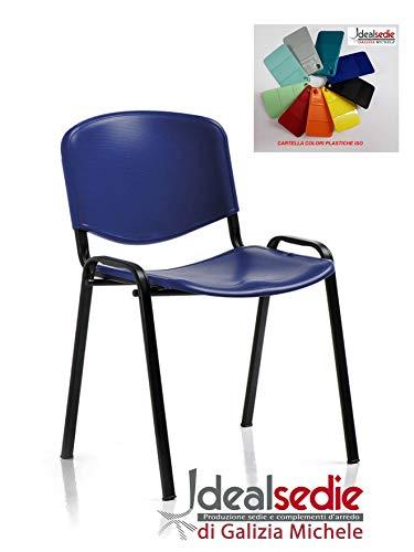 Europrimo Sedia da Ufficio Poltrona Fissa per Sala Attesa Metallo e plastica Rossa Rosso impilabile
