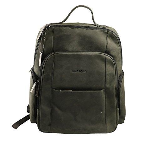 Marc Picard handgearbeitete sehr großer Hunter Lederrucksack/Laptop Rucksack bis 14 Zoll, für Damen und Herren, Schulrucksack Schultertasche für Outdoor Sports Uni Reise, Cityrucksack (Schwarz)