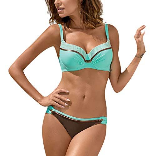 OverDose Damen Padded Push-Up-BH Dreieck Bedruckte Schlinge Bikini Set Badeanzug Badeanzug Bademode Beachwear Badeanzüge