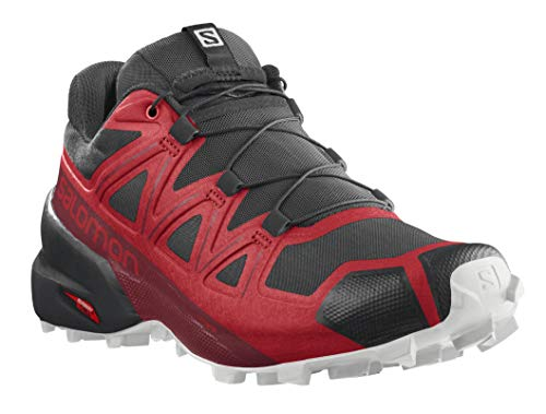 Salomon Men's Speedcross 5 Trail Running Shoe, Goji Berry/White/Black, 7