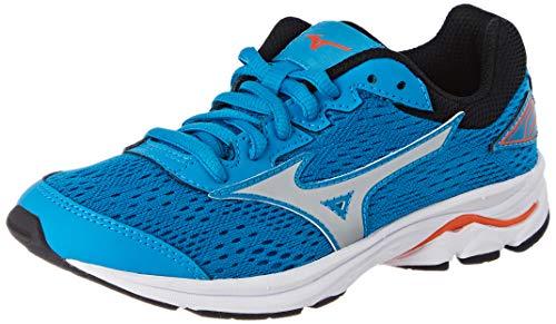 Mizuno Wave Rider 22 Jr, Adult Running Shoes, Turquoise (Bluejay / Silver / Nasturtium 03), 35 EU