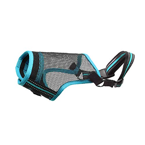 Petties&Sweeties Dog Muzzle, Quick Fit Air Mesh Breathable Pet Muzzle Mouth Cover with Adjustable Straps, Anti-Biting Small Medium Large Pet, Blue