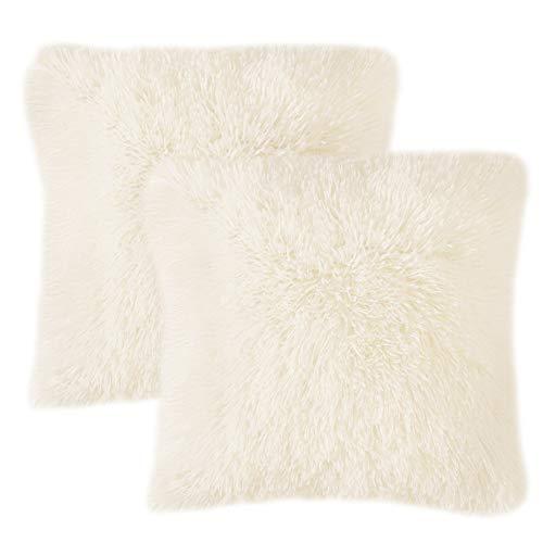MIULEE 2er Set Soft Künstlich Pelz Throw Kissenbezüge Set Kissen Fall für Sofa Schlafzimmer Auto 18x18 Zoll 45x45 cm Cremeweiß