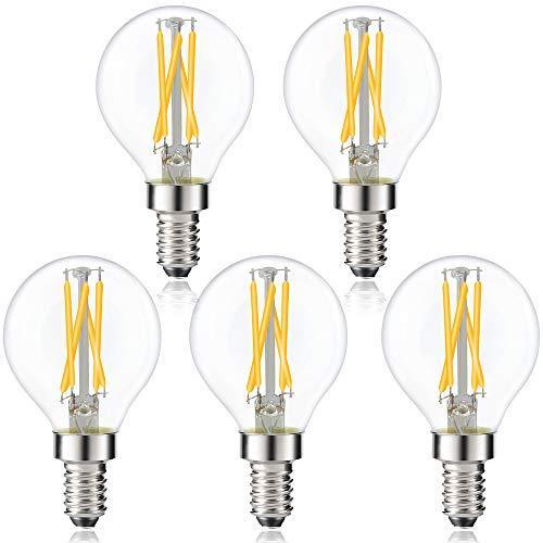 Bonlux Lampadina Filamento LED E14 Dimmerabile E14 a Sfera 4W Luca Bianca Calda 2700K Equivalenti a 40W SES Mini lampadina a incandescenza/alogena piccola Edison in vetro vintage (Pacco da 5)