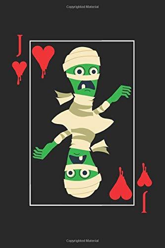 J: A5 Notizbuch, 120 Seiten liniert, Poker Pokerspieler Casino Pokern Kartenspiel Kartenspieler Bube Junge Mumie Herz