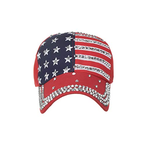 CRE87 Damen Men Women Baseball Caps American Flag Adjustable Cotton Cap Star Rhinestone Cap