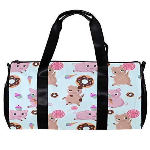 Runde Sporttasche mit abnehmbarem Schultergurt für Schweine, Donuts, Süßigkeiten und Kuchen, Trainings-Handtasche für Damen und Herren
