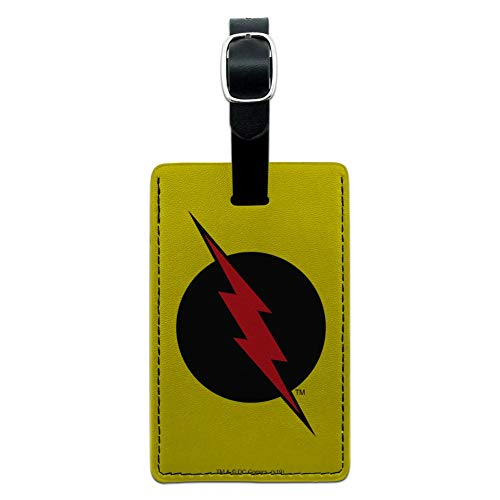 The Flash Reverse Flash Logo Rectangle Leather Luggage Card Carry-On ID Tag